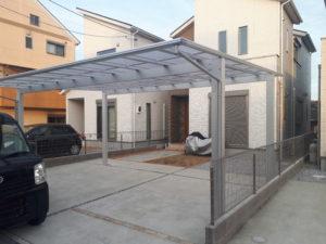 待望の屋根付き駐車場実現・YKKエフルージュツインを設置