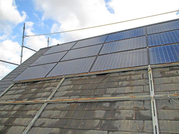 裾野市、屋根塗装(太陽光パネル取り外し込)
