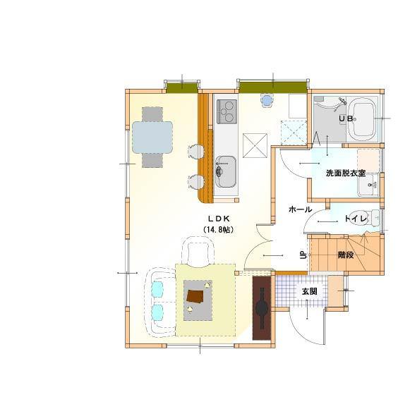 <施工後>LDと和室・押入れ・玄関ホールの一部をLDKとして改築し、広々と明るいLDKになりました。