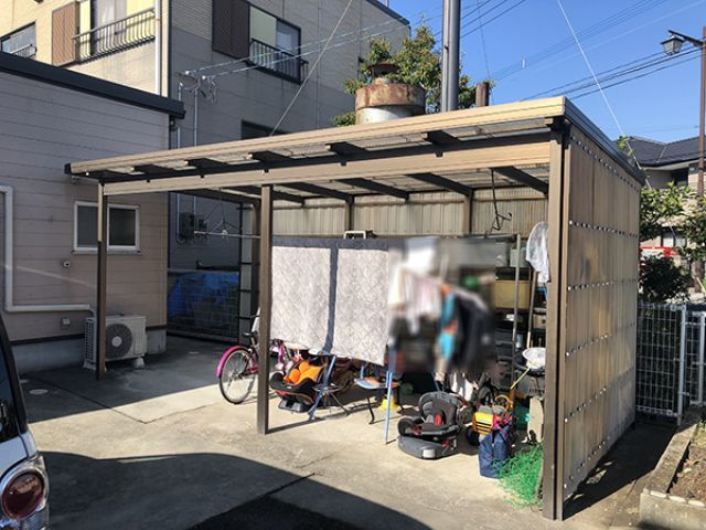 自転車小屋 増築工事