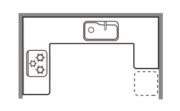 U型のキッチン
