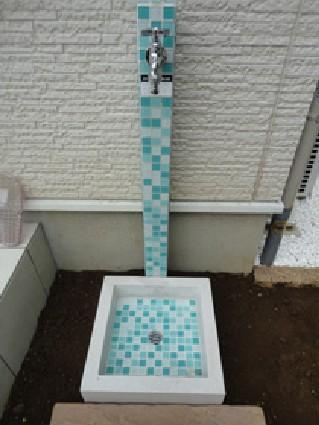 タイル仕上げの立水栓のリフォーム事例