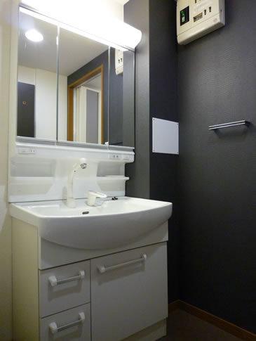 シンプルな機能的洗面所
