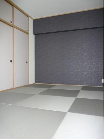 グレーな畳でモダンな和室に