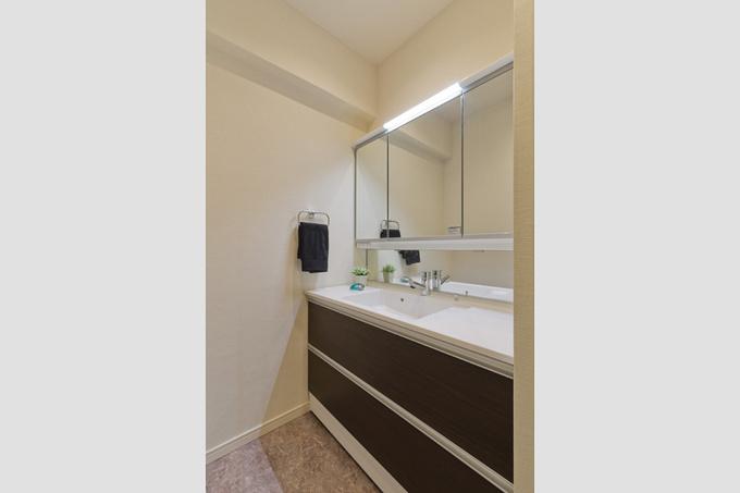 鏡の大きな独立洗面台