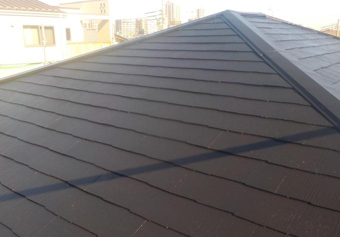 スレート屋根塗装、棟板金の釘抜けも対処致しました!