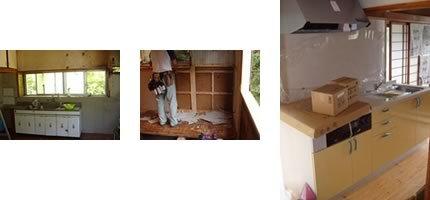 古いキッチンは位置を変えて配管から工事