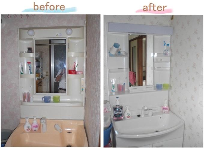 洗面化粧台交換、クロス張替