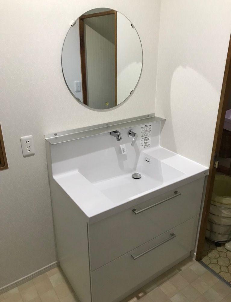 堺市美原区 洗面化粧台工事