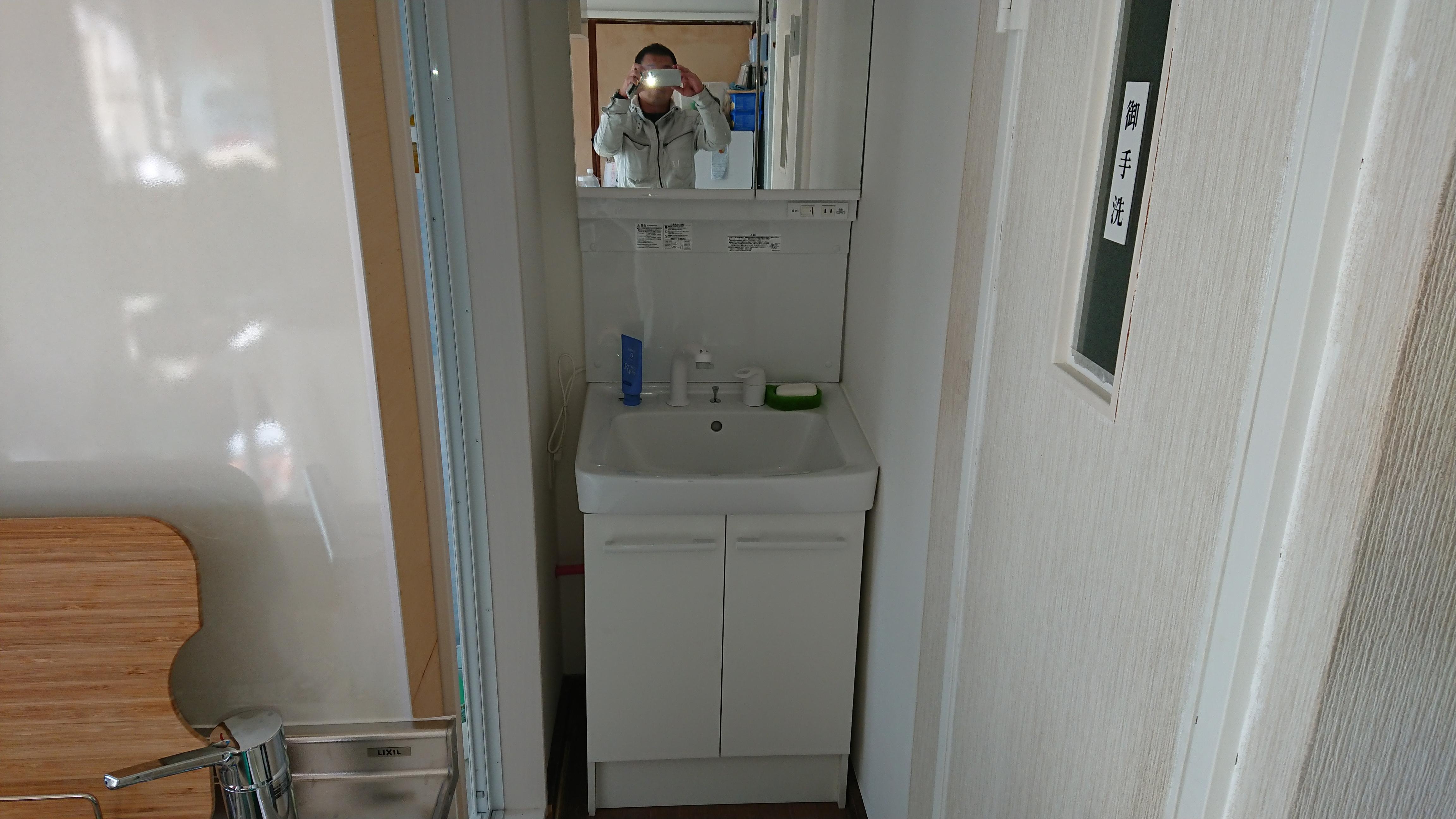 洗面化粧台も新しくなりました。